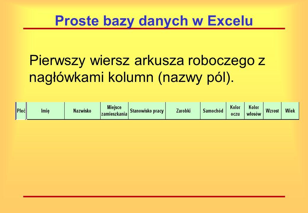 Proste bazy danych w Excelu By stworzyć własną bazę danych, należy w pierwszym wierszu arkusza roboczego wprowadzić własne, jednoznaczne nagłówki kolumn (nazwy pól).