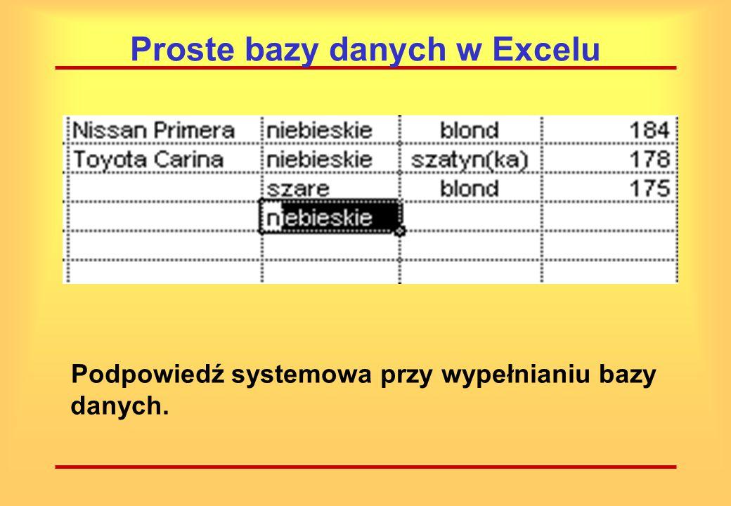 Proste bazy danych w Excelu Po wprowadzeniu kilku wierszu można skorzystać z mechanizmu autouzupełnienia. Jeżeli w danej kolumnie występuje tylko kilk