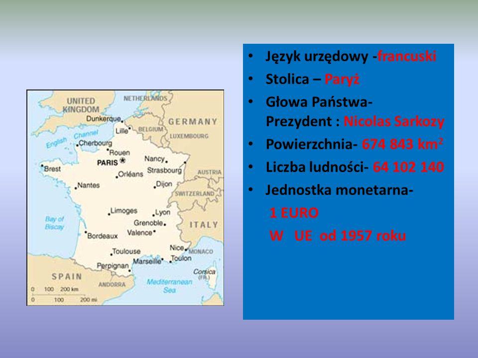 Język urzędowy -francuski Stolica – Paryż Głowa Państwa- Prezydent : Nicolas Sarkozy Powierzchnia- 674 843 km 2 Liczba ludności- 64 102 140 Jednostka monetarna- 1 EURO W UE od 1957 roku