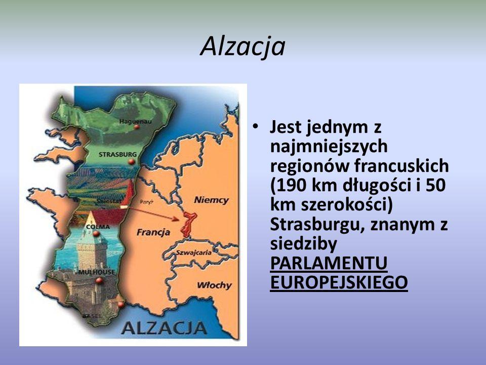 Alzacja Jest jednym z najmniejszych regionów francuskich (190 km długości i 50 km szerokości) Strasburgu, znanym z siedziby PARLAMENTU EUROPEJSKIEGO