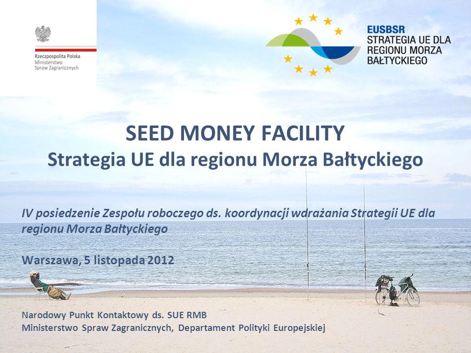 Seed Money Facility CEL SMF Wsparcie w początkowej fazie prac nad projektem (który przyczynia się do realizacji Planu Działania SUE RMB) Wsparcie dla tworzenia partnerstw w środowisku międzynarodowym Zbadanie możliwych źródeł finansowania realizacji projektu Pokrycie kosztów administracyjnych w fazie przygotowawczej (koszty zatrudnienia, usługi zewnętrzne, eksperci, koszty spotkań, podróży) Studium wykonalności