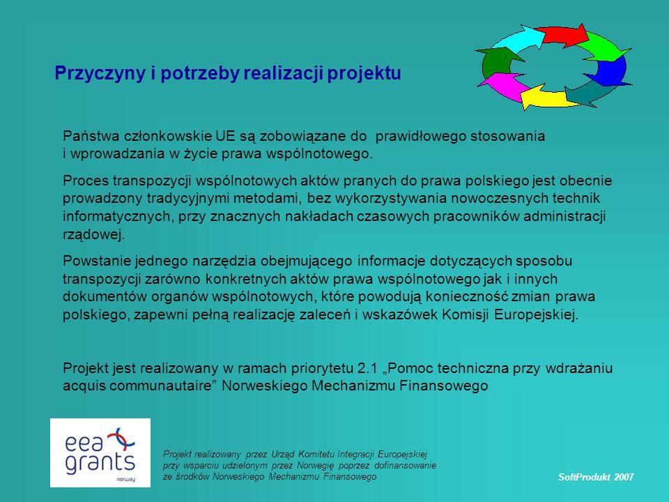 SoftProdukt 2007 Projekt realizowany przez Urząd Komitetu Integracji Europejskiej przy wsparciu udzielonym przez Norwegię poprzez dofinansowanie ze środków Norweskiego Mechanizmu Finansowego Przyczyny i potrzeby realizacji projektu Państwa członkowskie UE są zobowiązane do prawidłowego stosowania i wprowadzania w życie prawa wspólnotowego.