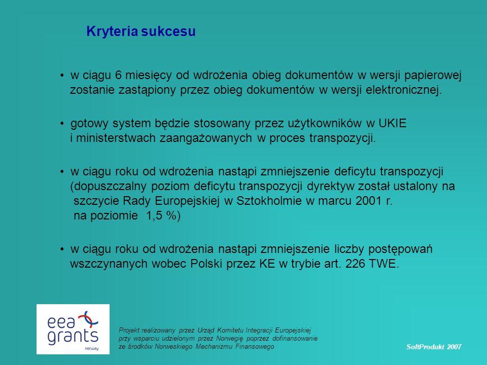 SoftProdukt 2007 Projekt realizowany przez Urząd Komitetu Integracji Europejskiej przy wsparciu udzielonym przez Norwegię poprzez dofinansowanie ze środków Norweskiego Mechanizmu Finansowego Kryteria sukcesu w ciągu 6 miesięcy od wdrożenia obieg dokumentów w wersji papierowej zostanie zastąpiony przez obieg dokumentów w wersji elektronicznej.