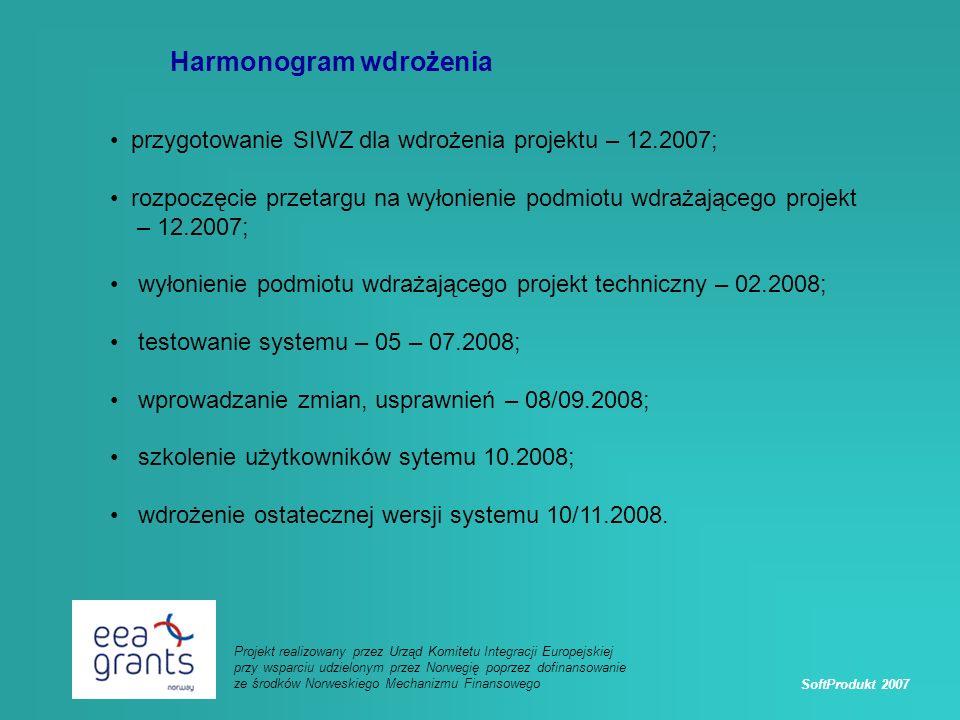 SoftProdukt 2007 Projekt realizowany przez Urząd Komitetu Integracji Europejskiej przy wsparciu udzielonym przez Norwegię poprzez dofinansowanie ze środków Norweskiego Mechanizmu Finansowego Harmonogram wdrożenia przygotowanie SIWZ dla wdrożenia projektu – 12.2007; rozpoczęcie przetargu na wyłonienie podmiotu wdrażającego projekt – 12.2007; wyłonienie podmiotu wdrażającego projekt techniczny – 02.2008; testowanie systemu – 05 – 07.2008; wprowadzanie zmian, usprawnień – 08/09.2008; szkolenie użytkowników sytemu 10.2008; wdrożenie ostatecznej wersji systemu 10/11.2008.