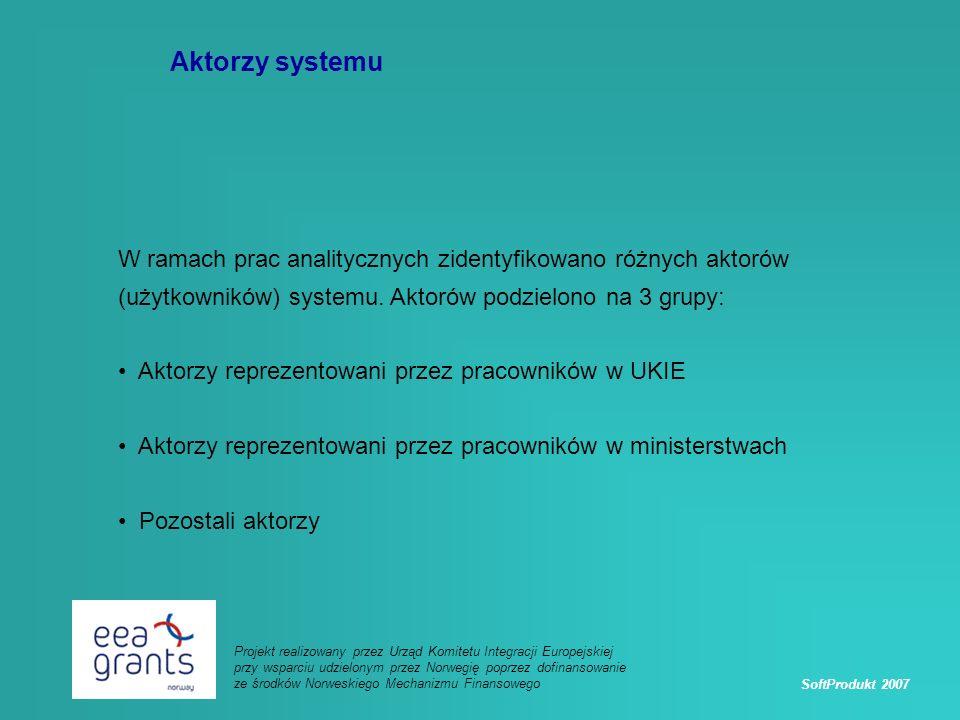 SoftProdukt 2007 Projekt realizowany przez Urząd Komitetu Integracji Europejskiej przy wsparciu udzielonym przez Norwegię poprzez dofinansowanie ze środków Norweskiego Mechanizmu Finansowego Aktorzy systemu W ramach prac analitycznych zidentyfikowano różnych aktorów (użytkowników) systemu.