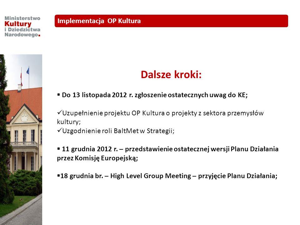 Dalsze kroki: Do 13 listopada 2012 r. zgłoszenie ostatecznych uwag do KE; Uzupełnienie projektu OP Kultura o projekty z sektora przemysłów kultury; Uz