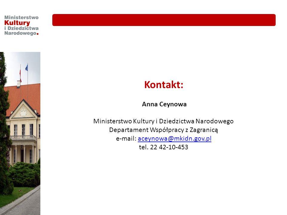 Kontakt: Anna Ceynowa Ministerstwo Kultury i Dziedzictwa Narodowego Departament Współpracy z Zagranicą e-mail: aceynowa@mkidn.gov.placeynowa@mkidn.gov