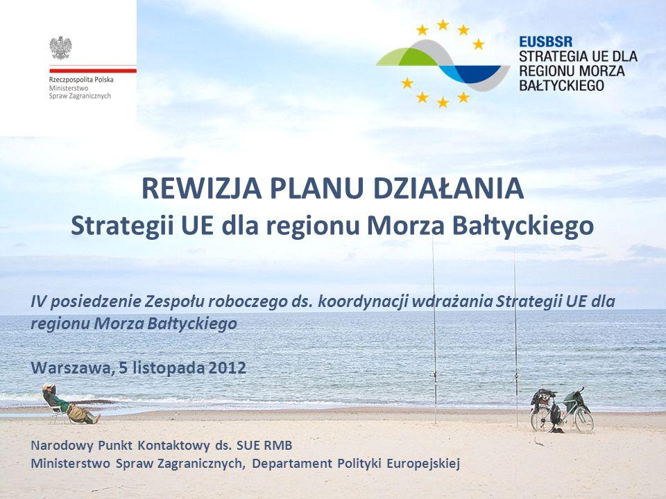 REWIZJA PLANU DZIAŁANIA Strategii UE dla regionu Morza Bałtyckiego IV posiedzenie Zespołu roboczego ds. koordynacji wdrażania Strategii UE dla regionu