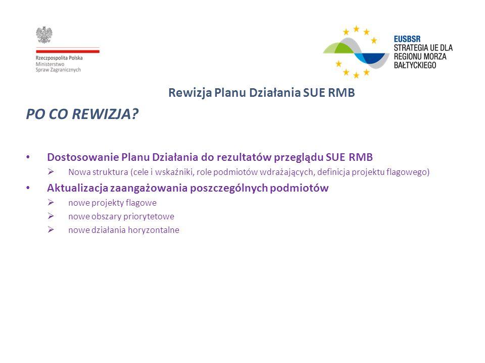 Rewizja Planu Działania SUE RMB PO CO REWIZJA? Dostosowanie Planu Działania do rezultatów przeglądu SUE RMB Nowa struktura (cele i wskaźniki, role pod