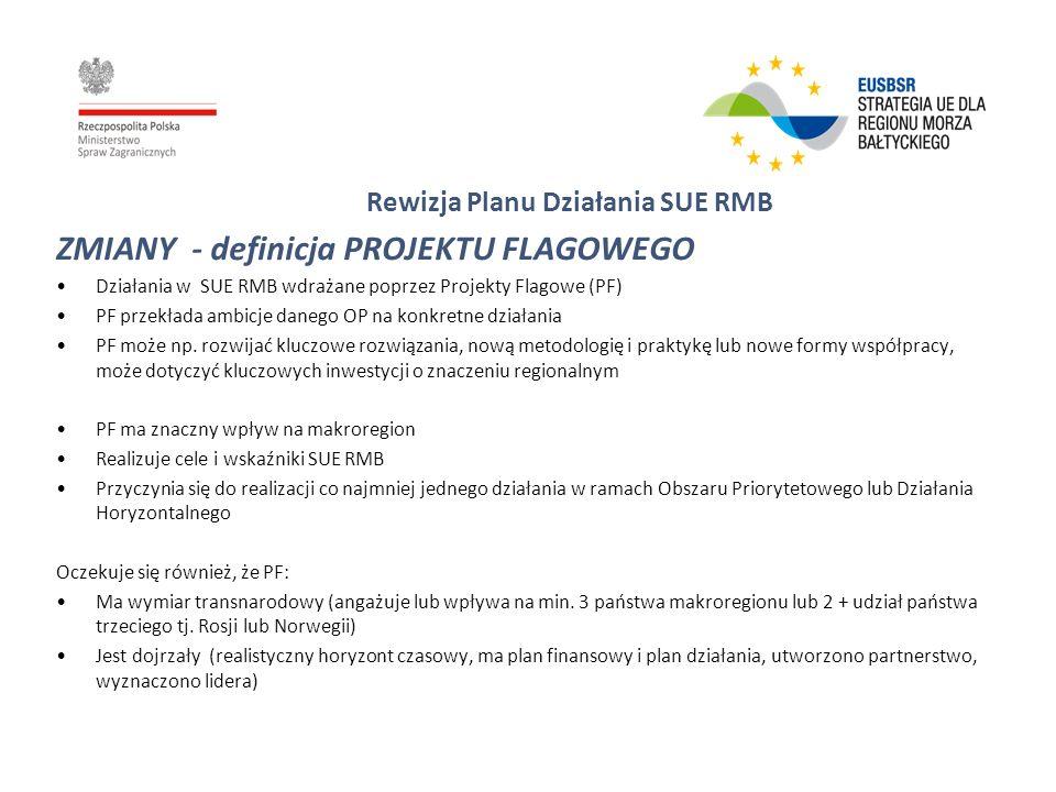 Rewizja Planu Działania SUE RMB ZMIANY - definicja PROJEKTU FLAGOWEGO Działania w SUE RMB wdrażane poprzez Projekty Flagowe (PF) PF przekłada ambicje