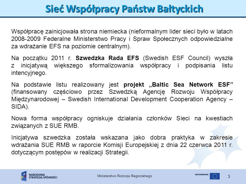 Ministerstwo Rozwoju Regionalnego 4 Sieć Współpracy Państw Bałtyckich Projekt BSN-ESF ma na celu: nakreślenie ram EFS i roli programów operacyjnych we wdrażaniu SUE RMB; konsolidację sieci wymiany doświadczeń oraz współpracy pomiędzy podmiotami wdrażającymi wsparcie EFS w regionie Morza Bałtyckiego, z uwzględnieniem wymiaru społecznego SUE RMB; ułatwienie współpracy ponadnarodowej pomiędzy projektami finansowanymi ze środków EFS w regionie Morza Bałtyckiego; opracowanie założeń jak EFS po roku 2013 mógłby wpłynąć na wzmocnienie wymiaru społecznego SUE RMB i w jaki sposób może zostać osiągnięta większa komplementarność programów operacyjnych EFS i SUE RMB.