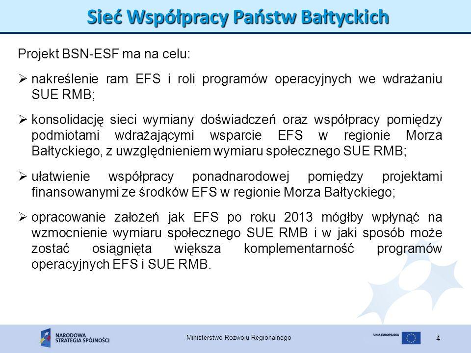 Ministerstwo Rozwoju Regionalnego 4 Sieć Współpracy Państw Bałtyckich Projekt BSN-ESF ma na celu: nakreślenie ram EFS i roli programów operacyjnych we