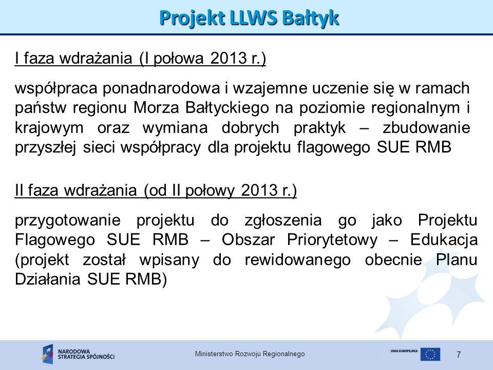Ministerstwo Rozwoju Regionalnego 8 Projekt LLWS Bałtyk 1.Jedna z IP centralnych PO KL – Ministerstwo Edukacji Narodowej 2.IP regionalne PO KL 3.Beneficjenci PO KL W sumie ok.