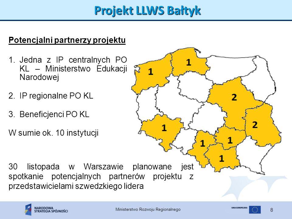 Ministerstwo Rozwoju Regionalnego 8 Projekt LLWS Bałtyk 1.Jedna z IP centralnych PO KL – Ministerstwo Edukacji Narodowej 2.IP regionalne PO KL 3.Benef