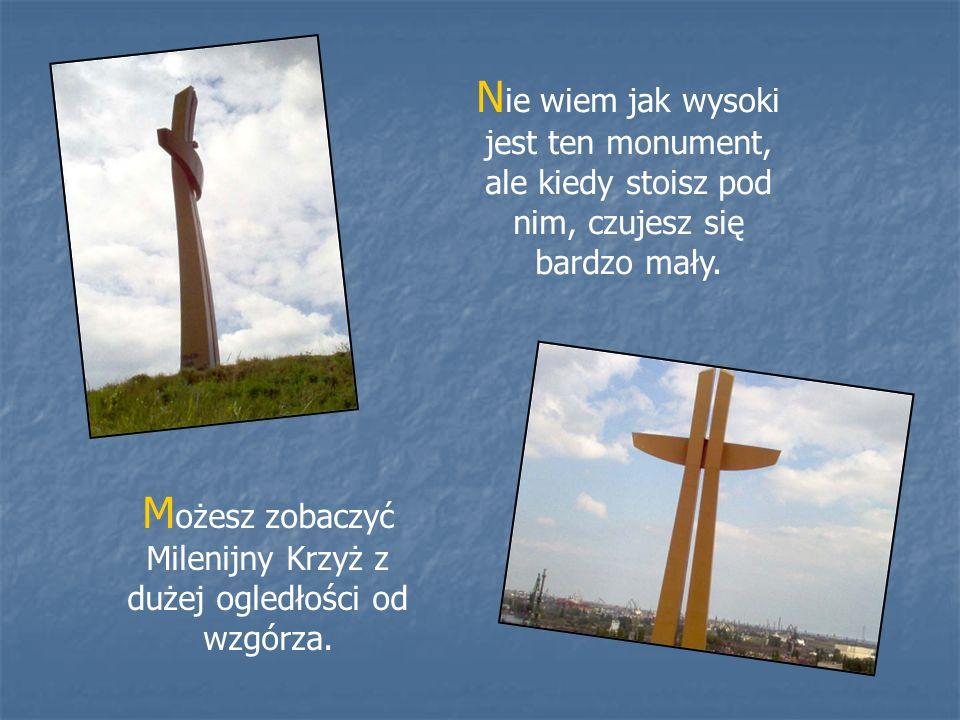 N ie wiem jak wysoki jest ten monument, ale kiedy stoisz pod nim, czujesz się bardzo mały. M ożesz zobaczyć Milenijny Krzyż z dużej ogledłości od wzgó