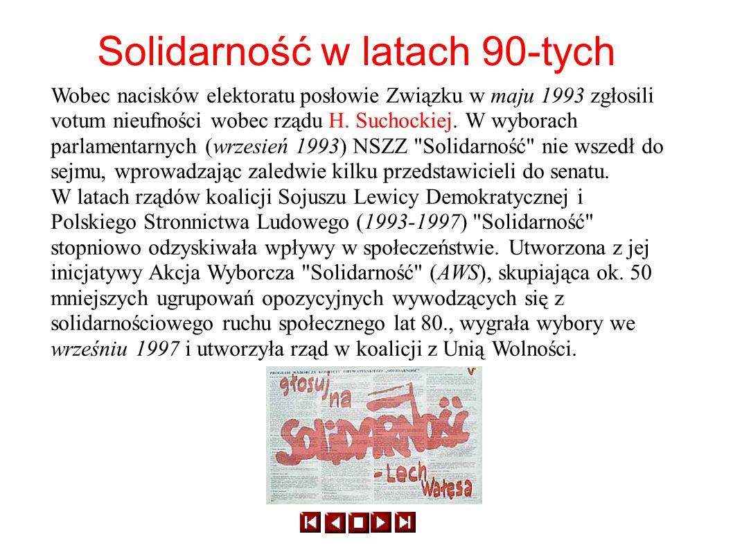 Wobec nacisków elektoratu posłowie Związku w maju 1993 zgłosili votum nieufności wobec rządu H. Suchockiej. W wyborach parlamentarnych (wrzesień 1993)