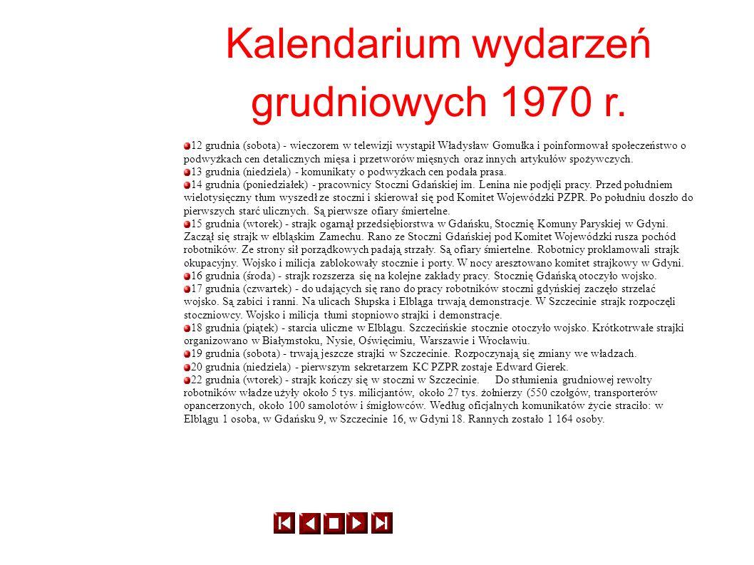 Kalendarium wydarzeń grudniowych 1970 r. 12 grudnia (sobota) - wieczorem w telewizji wystąpił Władysław Gomułka i poinformował społeczeństwo o podwyżk