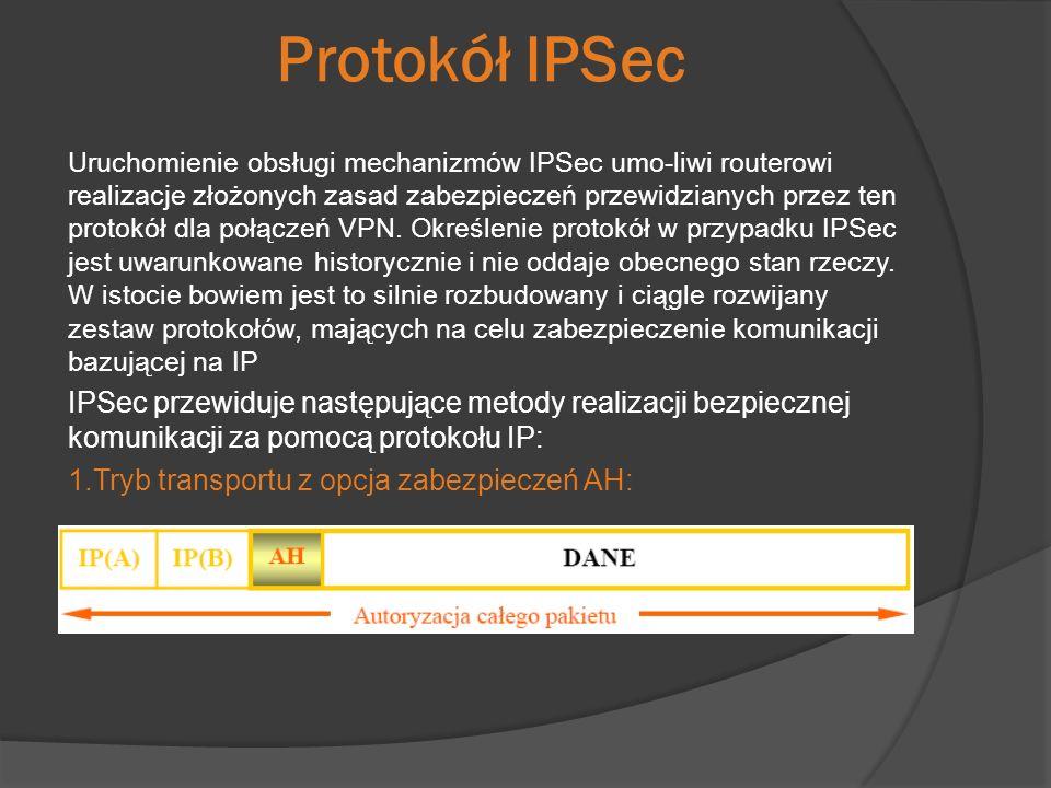 Protokół IPSec Uruchomienie obsługi mechanizmów IPSec umo-liwi routerowi realizacje złożonych zasad zabezpieczeń przewidzianych przez ten protokół dla