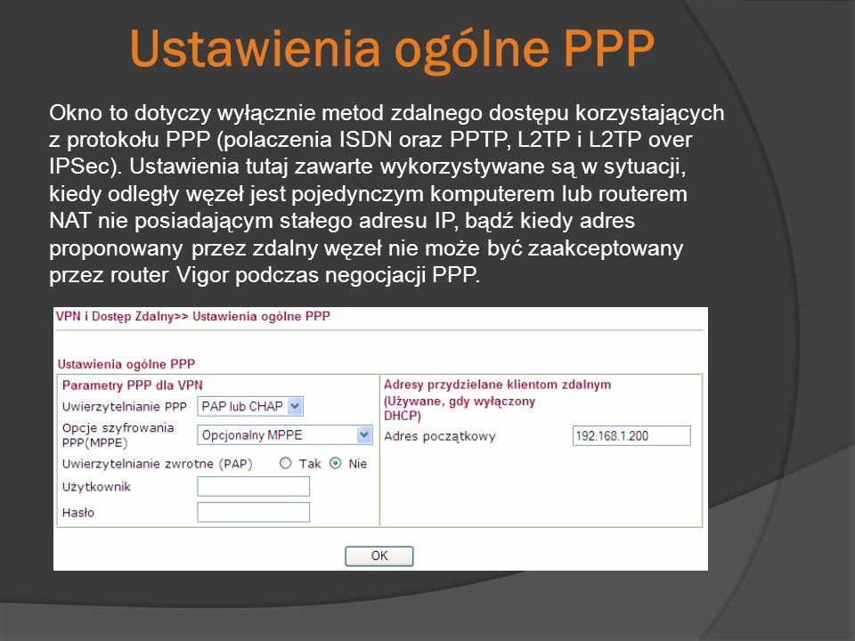 Ustawienia ogólne PPP Okno to dotyczy wyłącznie metod zdalnego dostępu korzystających z protokołu PPP (polaczenia ISDN oraz PPTP, L2TP i L2TP over IPS