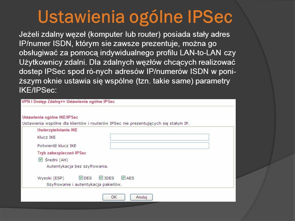 Ustawienia ogólne IPSec Jeżeli zdalny węzeł (komputer lub router) posiada stały adres IP/numer ISDN, którym sie zawsze prezentuje, można go obsługiwać