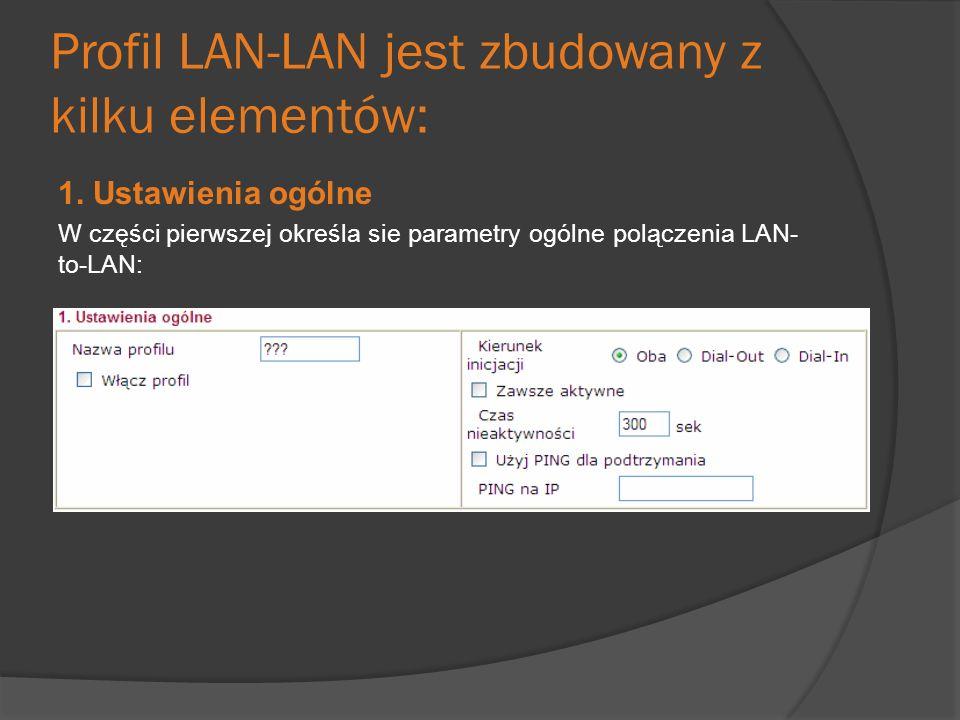 Profil LAN-LAN jest zbudowany z kilku elementów: 1. Ustawienia ogólne W części pierwszej określa sie parametry ogólne polączenia LAN- to-LAN: