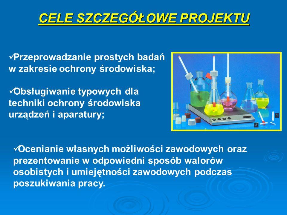 Przeprowadzanie prostych badań w zakresie ochrony środowiska; Obsługiwanie typowych dla techniki ochrony środowiska urządzeń i aparatury; CELE SZCZEGÓ
