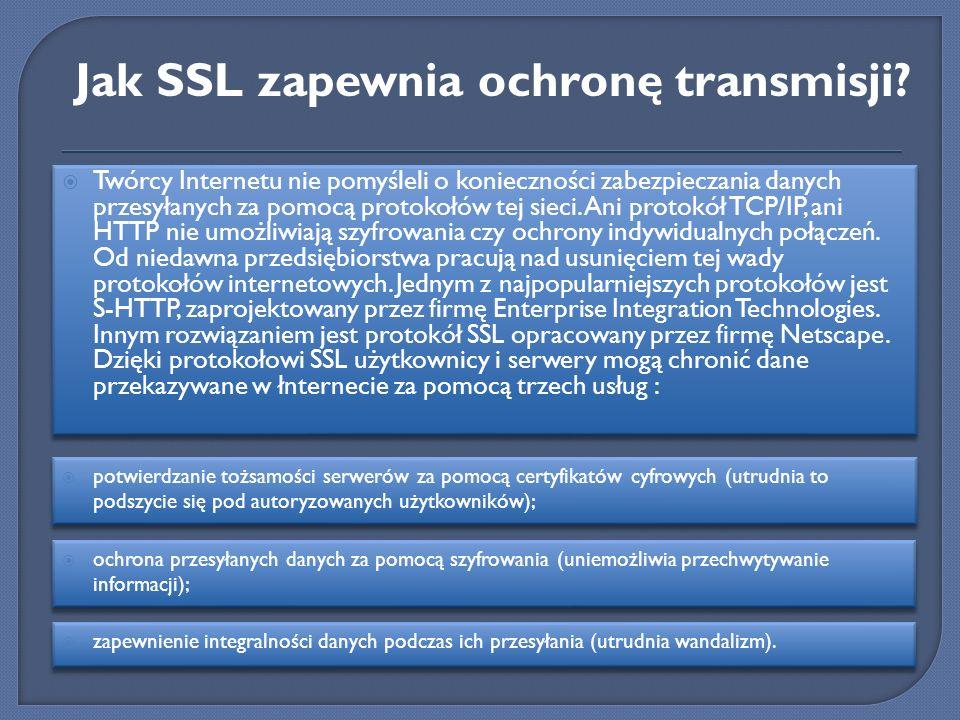 Twórcy Internetu nie pomyśleli o konieczności zabezpieczania danych przesyłanych za pomocą protokołów tej sieci. Ani protokół TCP/IP, ani HTTP nie umo