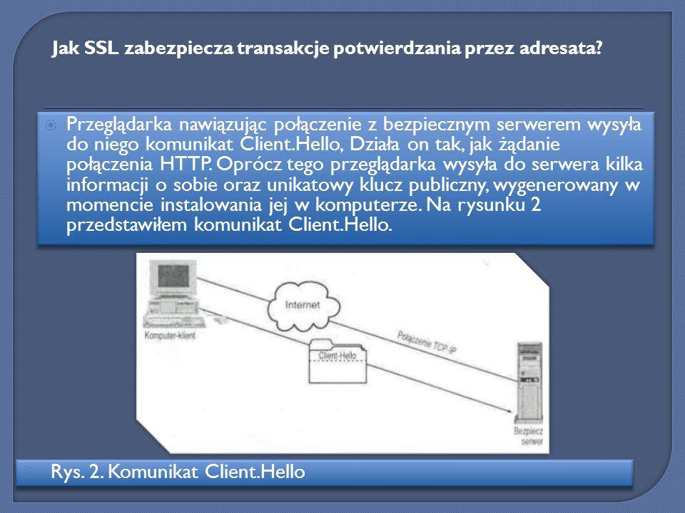 Przeglądarka nawiązując połączenie z bezpiecznym serwerem wysyła do niego komunikat Client.Hello, Działa on tak, jak żądanie połączenia HTTP. Oprócz t