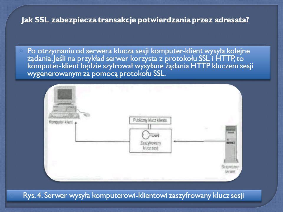 Po otrzymaniu od serwera klucza sesji komputer-klient wysyła kolejne żądania. Jeśli na przykład serwer korzysta z protokołu SSL i HTTP, to komputer-kl