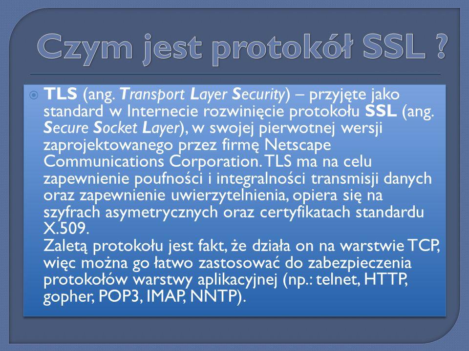 Protokół SSL 3.0 umożliwia szyfrowanie danych, potwierdzanie tożsamości serwera, zapewnianie integralności przesyłanych komunikatów, a także opcjonalne potwierdzanie tożsamości komputera typu klient w połączeniach realizowanych za pomocą protokołu TCP/IP.