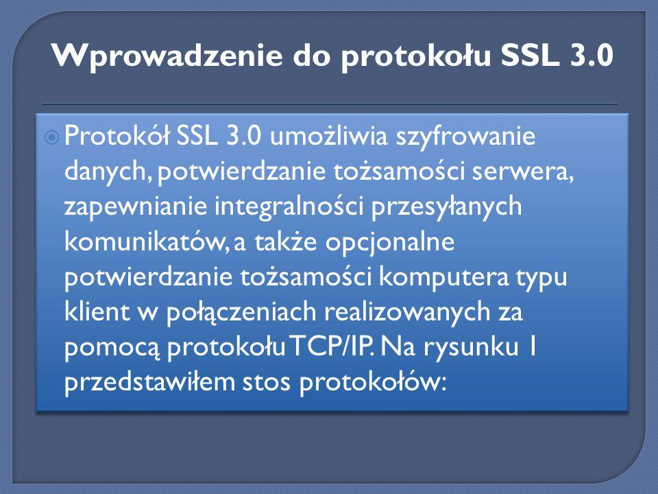 Protokół SSL 3.0 umożliwia szyfrowanie danych, potwierdzanie tożsamości serwera, zapewnianie integralności przesyłanych komunikatów, a także opcjonaln