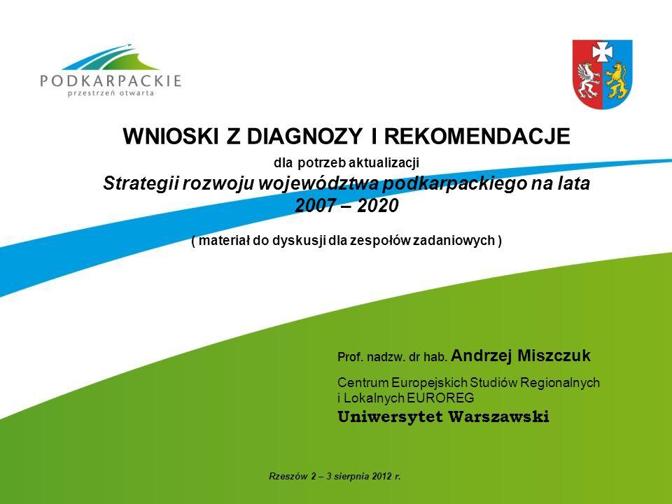 WNIOSKI Z DIAGNOZY I REKOMENDACJE dla potrzeb aktualizacji Strategii rozwoju województwa podkarpackiego na lata 2007 – 2020 ( materiał do dyskusji dla