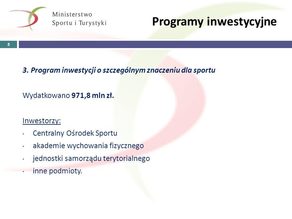 Programy inwestycyjne 3. Program inwestycji o szczególnym znaczeniu dla sportu Wydatkowano 971,8 mln zł. Inwestorzy: Centralny Ośrodek Sportu akademie
