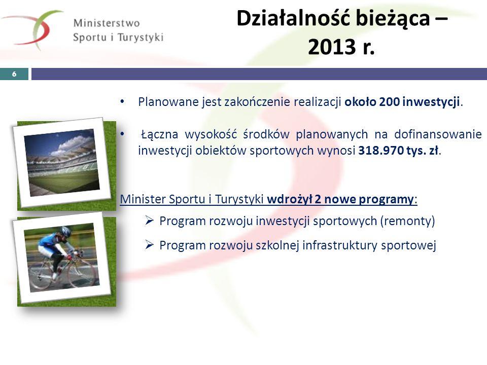 Działalność bieżąca – 2013 r. 6 Planowane jest zakończenie realizacji około 200 inwestycji. Łączna wysokość środków planowanych na dofinansowanie inwe