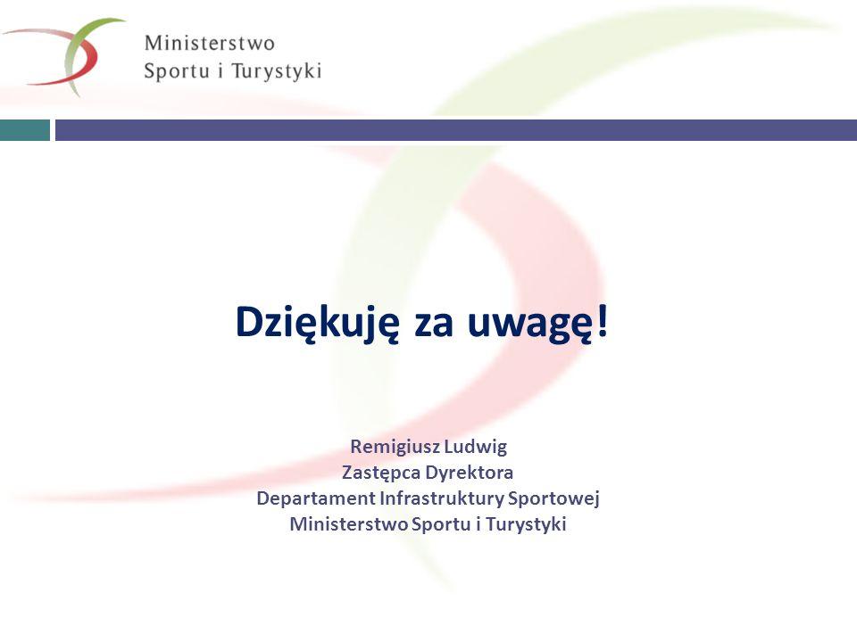 Dziękuję za uwagę! Remigiusz Ludwig Zastępca Dyrektora Departament Infrastruktury Sportowej Ministerstwo Sportu i Turystyki