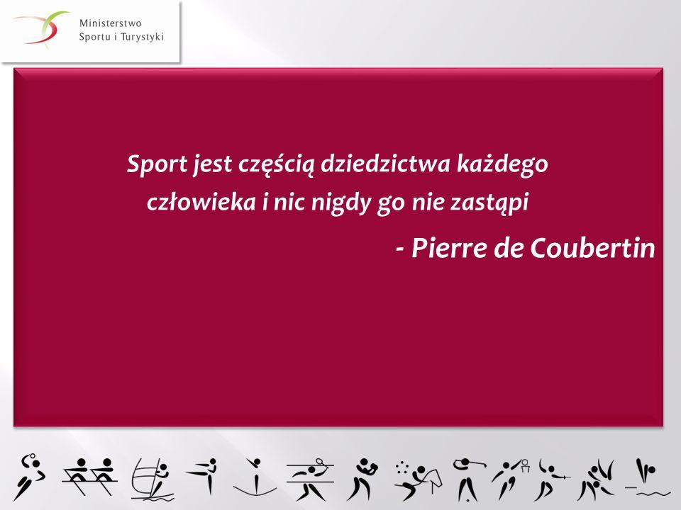 Sport jest częścią dziedzictwa każdego człowieka i nic nigdy go nie zastąpi - Pierre de Coubertin Sport jest częścią dziedzictwa każdego człowieka i n