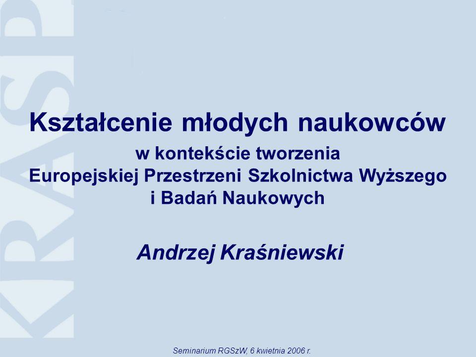 Kształcenie młodych naukowców w kontekście tworzenia Europejskiej Przestrzeni Szkolnictwa Wyższego i Badań Naukowych Andrzej Kraśniewski Seminarium RGSzW, 6 kwietnia 2006 r.