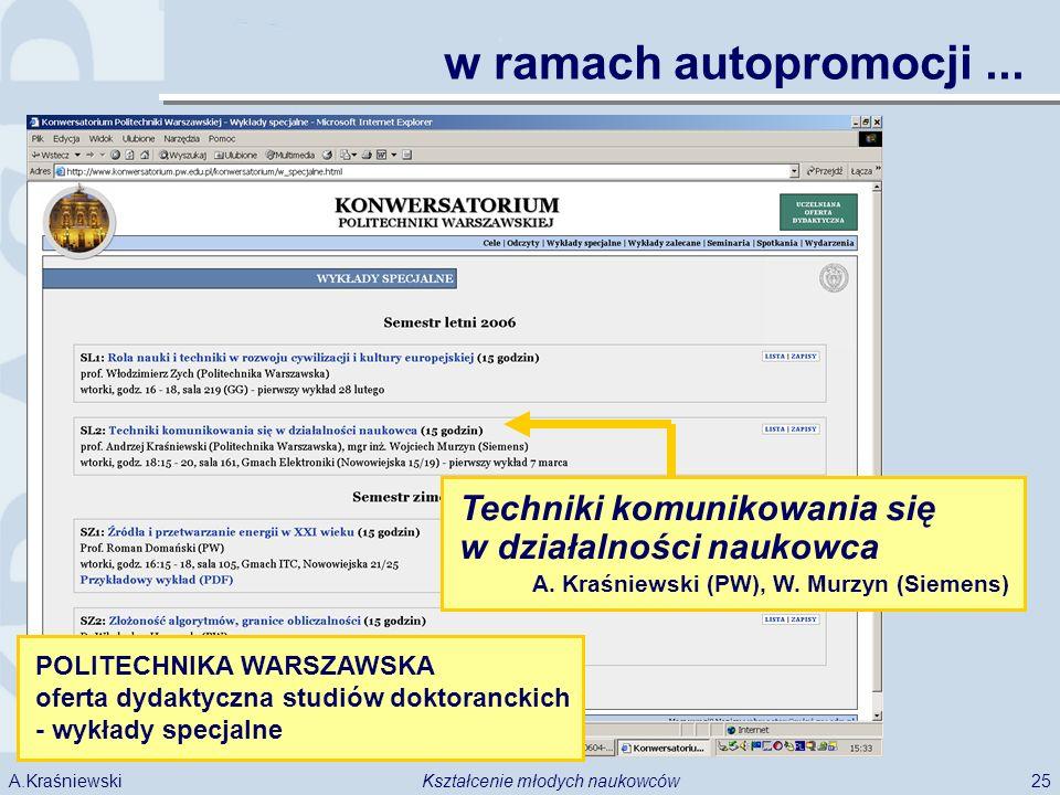 25Kształcenie młodych naukowcówA.Kraśniewski w ramach autopromocji... POLITECHNIKA WARSZAWSKA oferta dydaktyczna studiów doktoranckich - wykłady specj