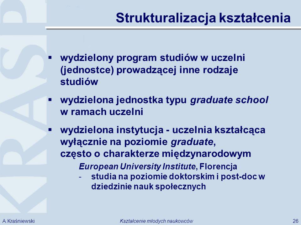 26Kształcenie młodych naukowcówA.Kraśniewski Strukturalizacja kształcenia wydzielony program studiów w uczelni (jednostce) prowadzącej inne rodzaje studiów wydzielona jednostka typu graduate school w ramach uczelni wydzielona instytucja - uczelnia kształcąca wyłącznie na poziomie graduate, często o charakterze międzynarodowym European University Institute, Florencja -studia na poziomie doktorskim i post-doc w dziedzinie nauk społecznych