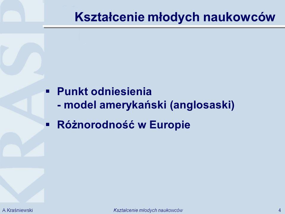 4Kształcenie młodych naukowcówA.Kraśniewski Punkt odniesienia - model amerykański (anglosaski) Różnorodność w Europie Kształcenie młodych naukowców