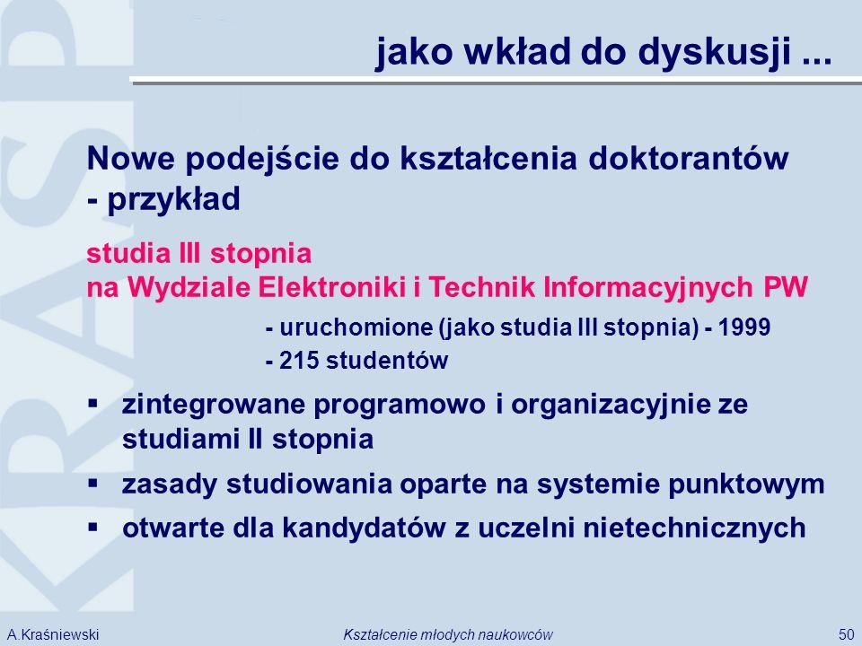 50Kształcenie młodych naukowcówA.Kraśniewski jako wkład do dyskusji... Nowe podejście do kształcenia doktorantów - przykład studia III stopnia na Wydz