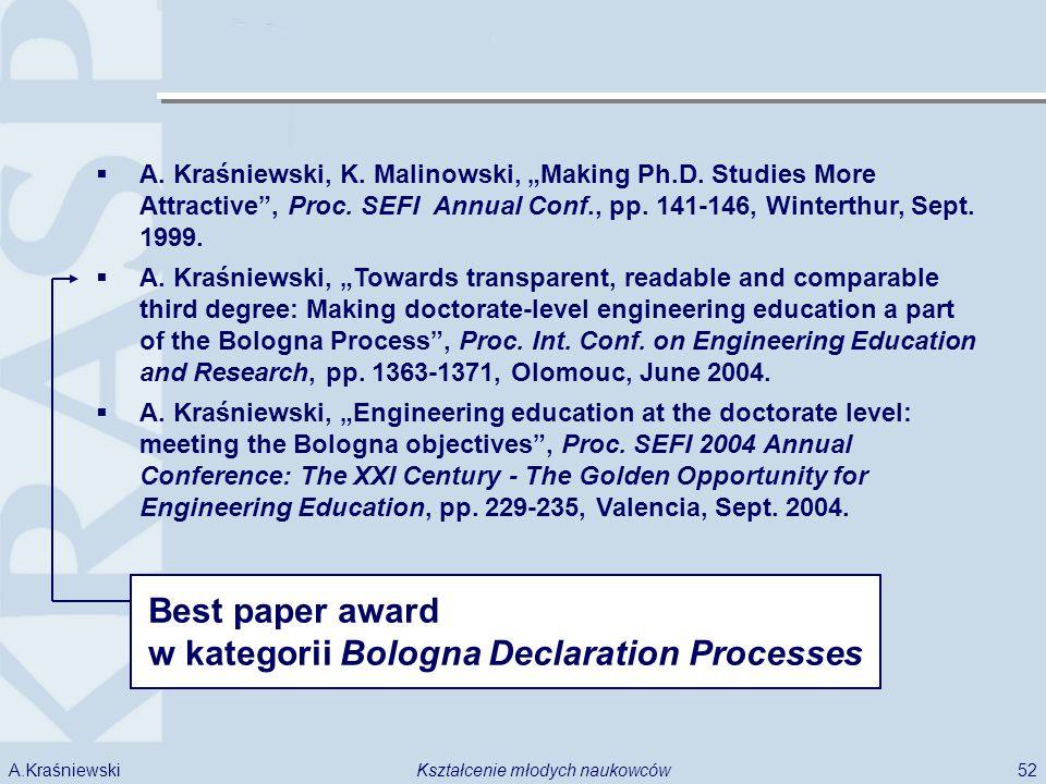52Kształcenie młodych naukowcówA.Kraśniewski A. Kraśniewski, K. Malinowski, Making Ph.D. Studies More Attractive, Proc. SEFI Annual Conf., pp. 141-146