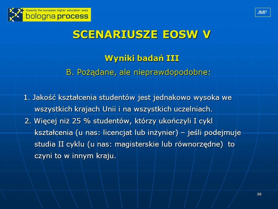16 SCENARIUSZE EOSW V Wyniki badań III B. Pożądane, ale nieprawdopodobne: B. Pożądane, ale nieprawdopodobne: 1. Jakość kształcenia studentów jest jedn