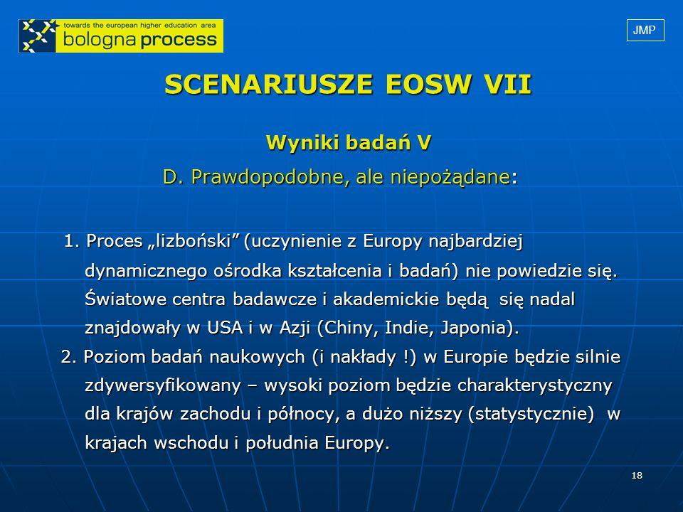 18 SCENARIUSZE EOSW VII Wyniki badań V D. Prawdopodobne, ale niepożądane: D. Prawdopodobne, ale niepożądane: 1. Proces lizboński (uczynienie z Europy