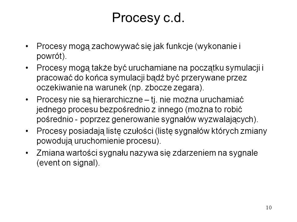 10 Procesy c.d. Procesy mogą zachowywać się jak funkcje (wykonanie i powrót). Procesy mogą także być uruchamiane na początku symulacji i pracować do k