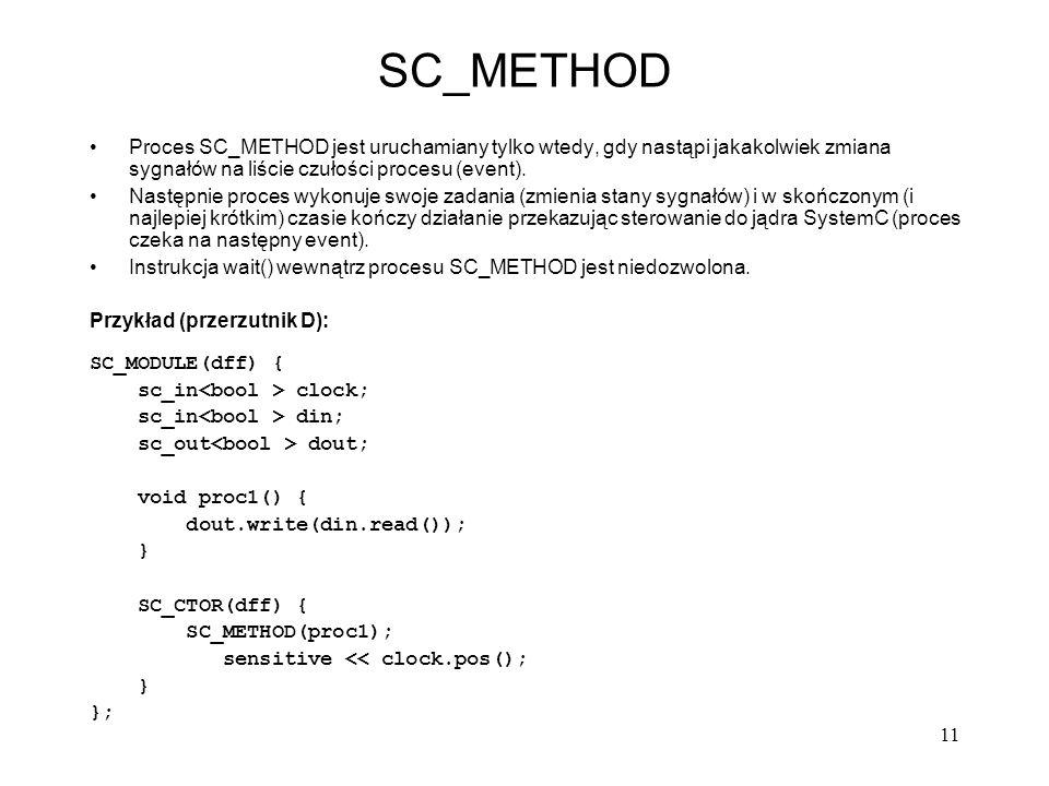 11 SC_METHOD Proces SC_METHOD jest uruchamiany tylko wtedy, gdy nastąpi jakakolwiek zmiana sygnałów na liście czułości procesu (event). Następnie proc