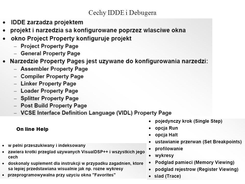Cechy IDDE i Debugera On line Help