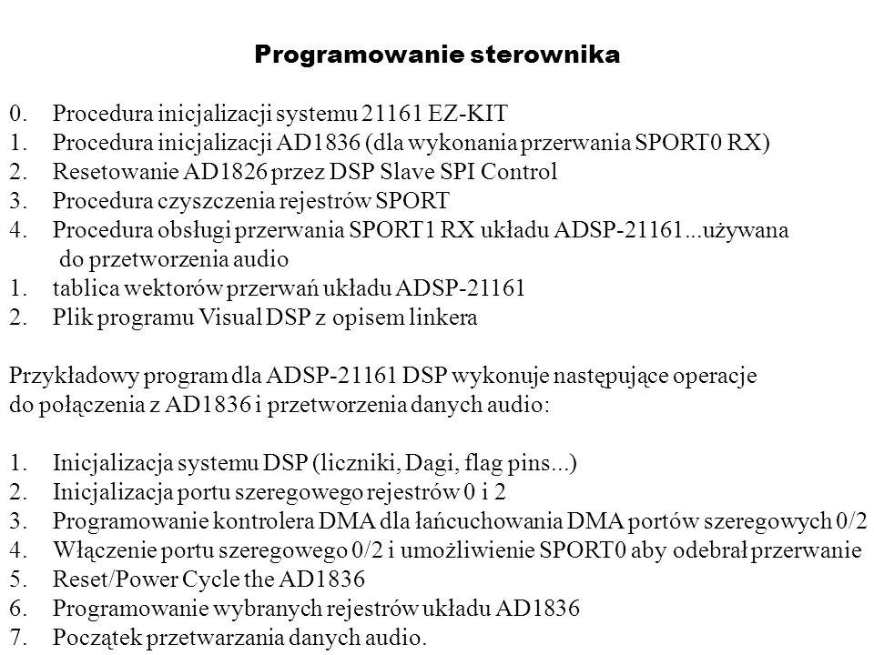 Programowanie sterownika 0.Procedura inicjalizacji systemu 21161 EZ-KIT 1.Procedura inicjalizacji AD1836 (dla wykonania przerwania SPORT0 RX) 2.Reseto