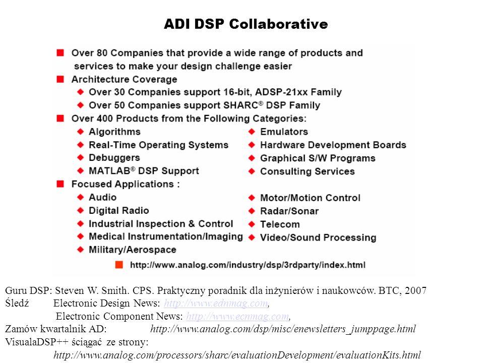 ADI DSP Collaborative Guru DSP: Steven W. Smith. CPS. Praktyczny poradnik dla inżynierów i naukowców. BTC, 2007 Śledź Electronic Design News: http://w