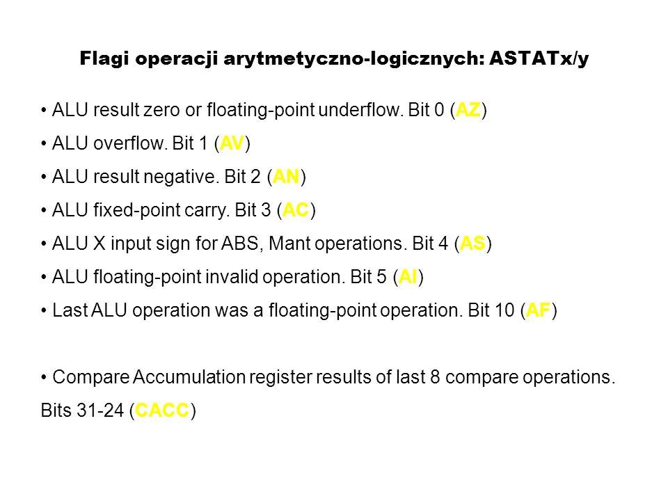 Flagi operacji arytmetyczno-logicznych: ASTATx/y ALU result zero or floating-point underflow. Bit 0 (AZ) ALU overflow. Bit 1 (AV) ALU result negative.